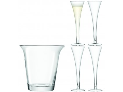 LSA dárkový set Champagne, 4ks sklenic +chladicí kbelík, čirý