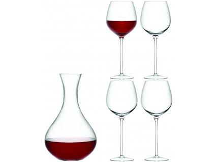 LSA dárkový set Wine, 4 sklenice (750 ml) a karafa 2,5 l, čiré