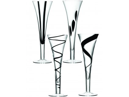 LSA JAZZ sklenice šampaňské, 250 ml, 4 ks, čirá/černá