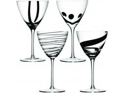 LSA JAZZ sklenice na víno, 400 ml, 4 ks, čirá/černá