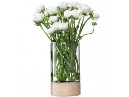 LSA Lotta váza/svícen jasan/čiré sklo, 23cm