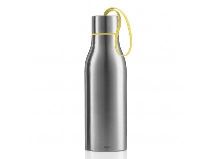 Pikniková termo lahev 1,0 l matný nerez s žlutým nylonovým řemínkem, Eva Solo