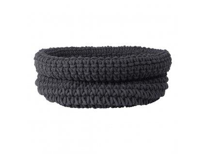 Pletený bavlněný koš COBO šedočerná BLOMUS