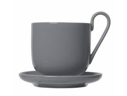 set 2 hrnků na kávu s podšálkem tmavě šedý porcelánový RO BLOMUS