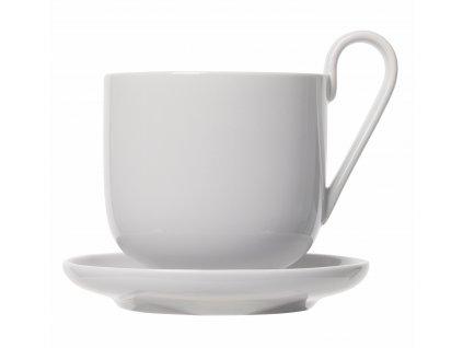 set 2 hrnků na kávu s podšálkem světle šedý porcelánový RO