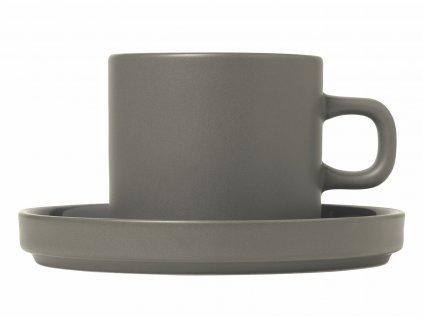 set 2 hrnků na kávu z porcelánu šedý MIO