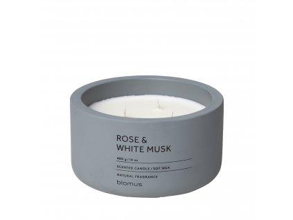 Vonná svíčka ze sojového vosku Rose & White Musk velká FRAGA BLOMUS