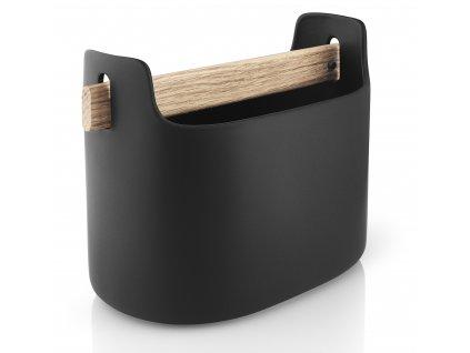 Multifunkční box široký s dřevěnou rukojetí černý