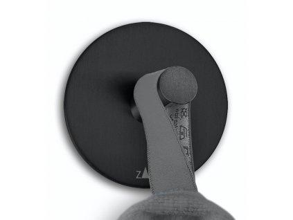 háček na ručníky set 2 ks, samolepící, kulatý, černý, nerezový ZACK