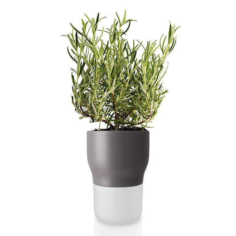 Samozavlažovací keramický květináč šedý OE 11 cm, Eva Solo