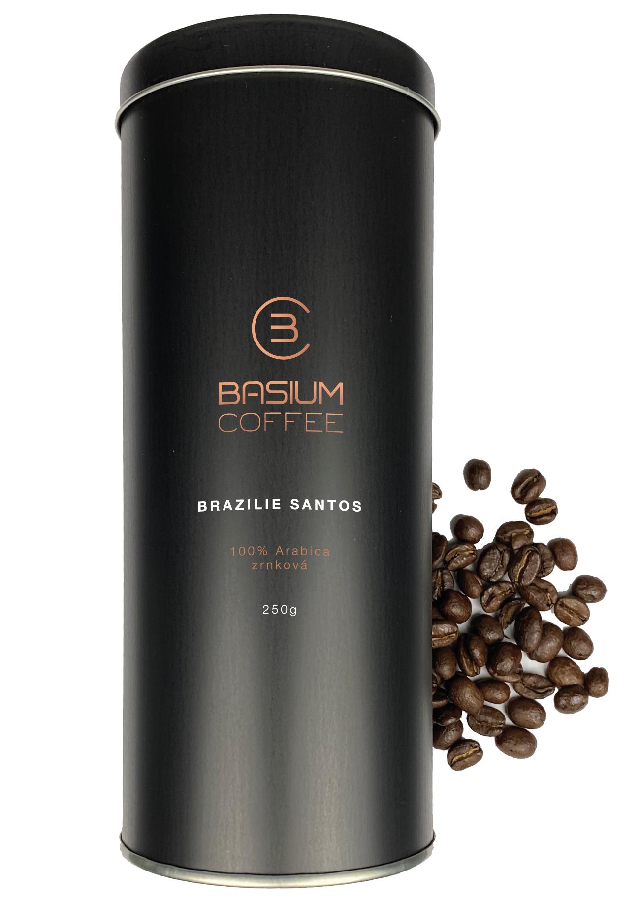 Basium coffee brazílie santos dárková dóza zrnková 250g