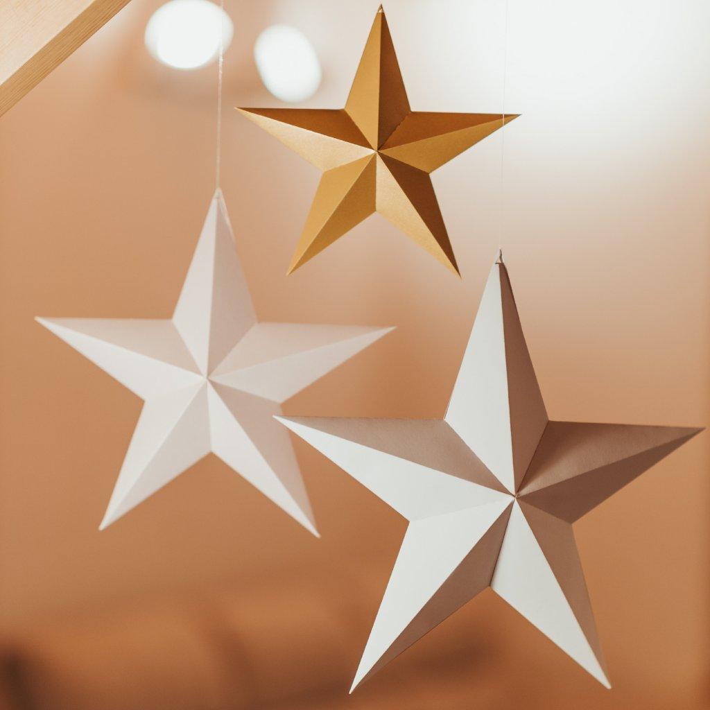 PAPERTIME Papírové Vánoční hvězdy skládací - set 3 kusů