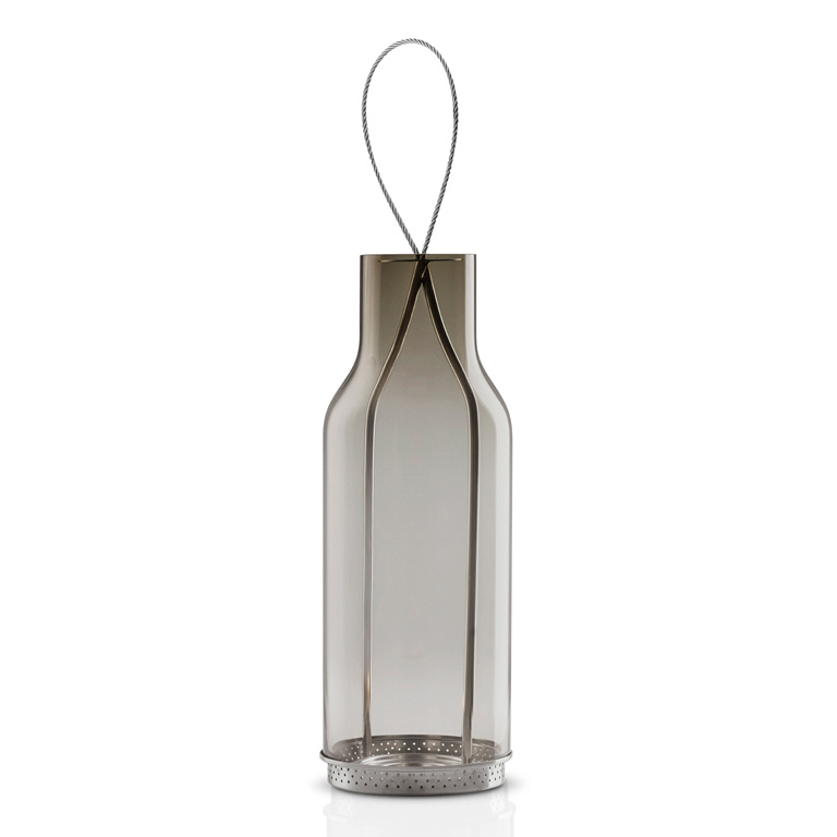 Závěsná lucerna na čajovou svíčku 20 cm kouřové sklo, Eva Solo