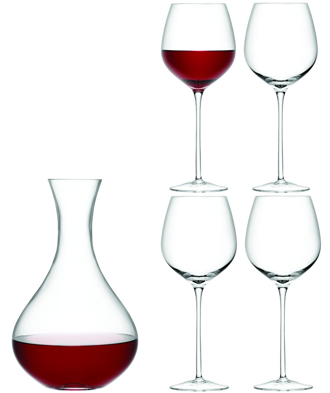 LSA INTERNATIONAL LSA dárkový set Wine, 4 sklenice (750 ml) a karafa 2,5 l, čiré