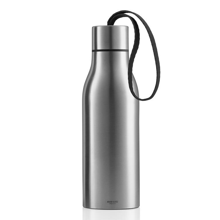 Termoizolační nápojová lahev 0,5 l s černým nylonovým řemínkem, Eva Solo