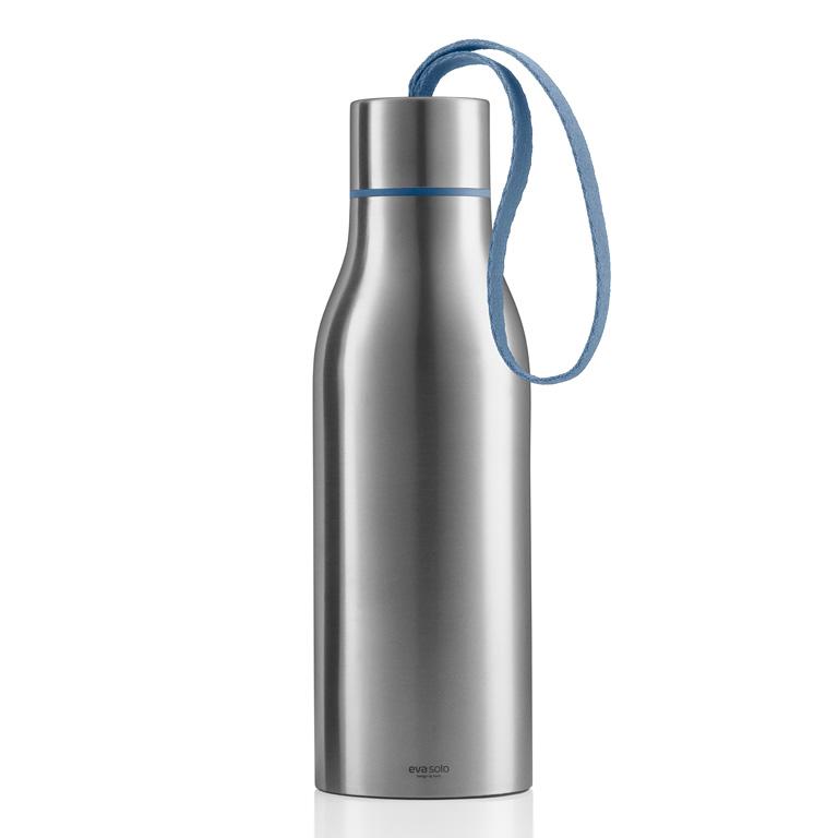 Termoizolační nápojová lahev 0,5 l s modrým nylonovým řemínkem, Eva Solo