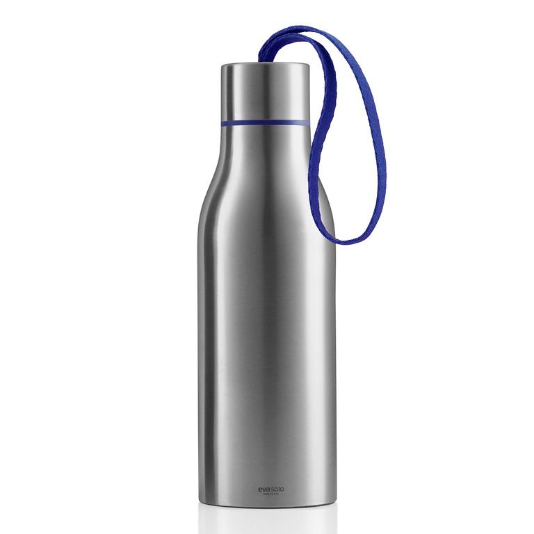 Termoizolační nápojová lahev 0,5 l s tmavě modrým nylonovým řemínkem, Eva Solo