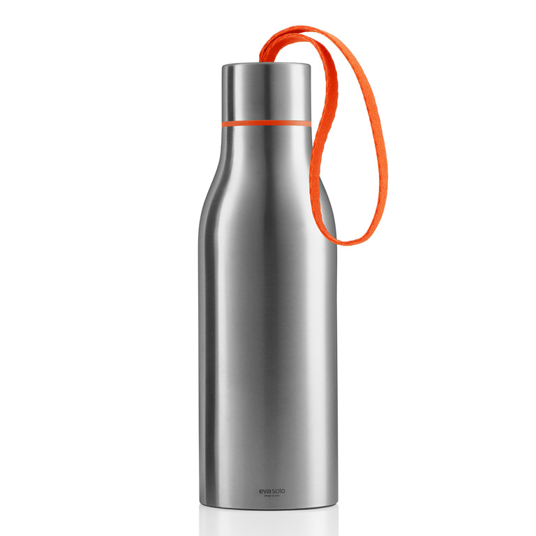 Termoizolační nápojová lahev 0,5 l s oranžovým nylonovým řemínkem, Eva Solo