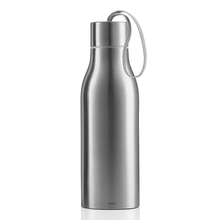 Pikniková termo lahev 1,0 l matný nerez s šedým nylonovým řemínkem, Eva Solo