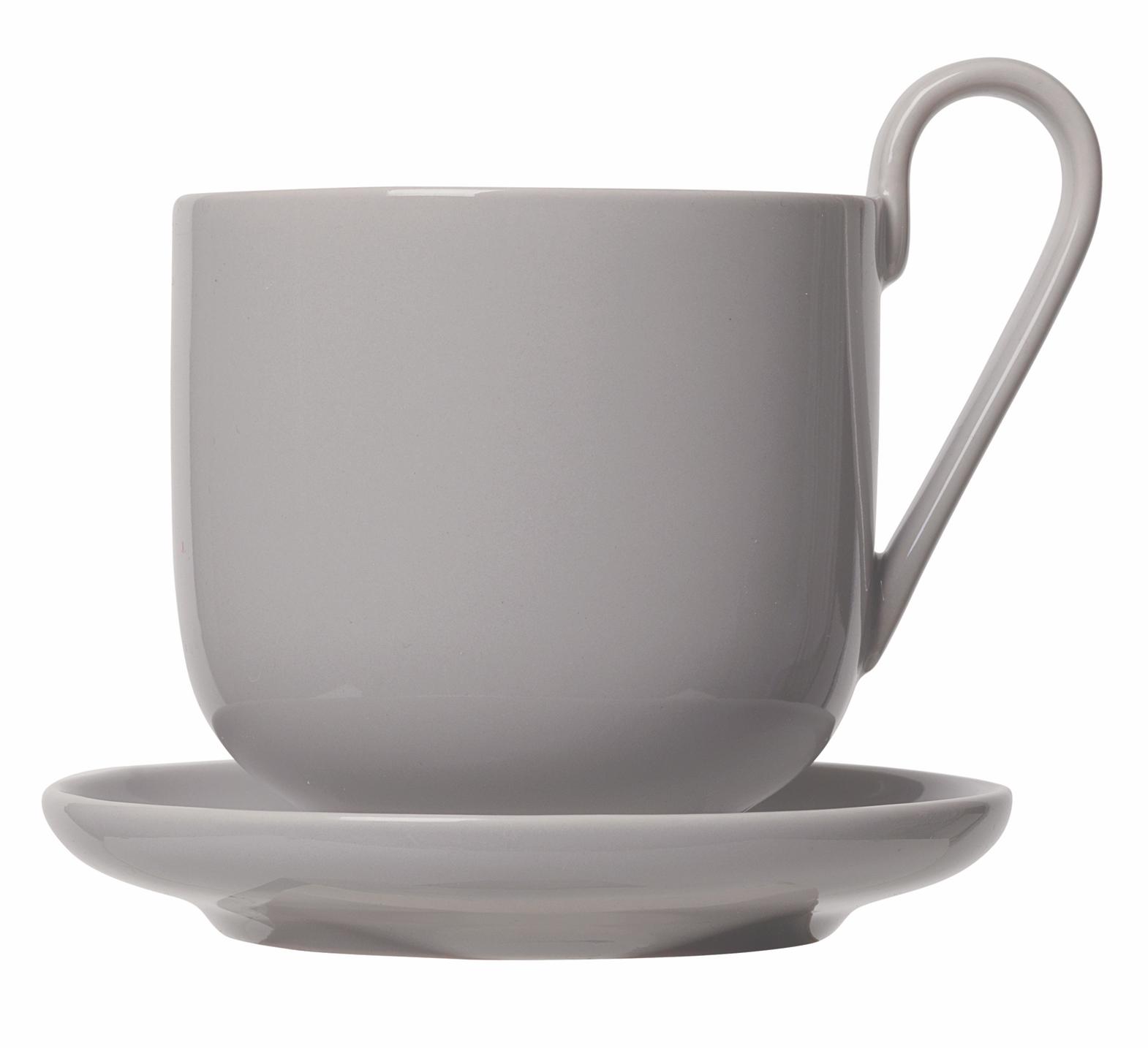 set 2 hrnků na kávu s podšálkem šedý porcelánový RO BLOMUS