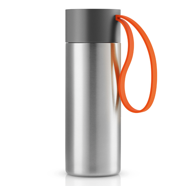 Nerezový termohrnek To Go 0,35 l s oranžovým řemínkem, Eva Solo