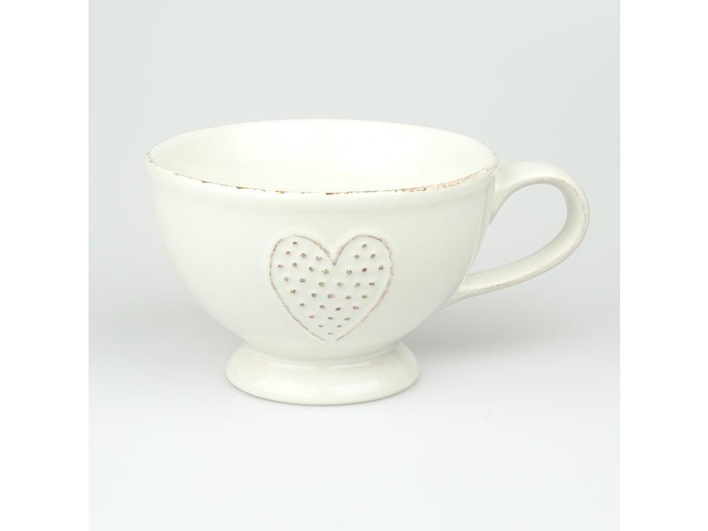 Keramický hrnek srdce bílý - 450 ml