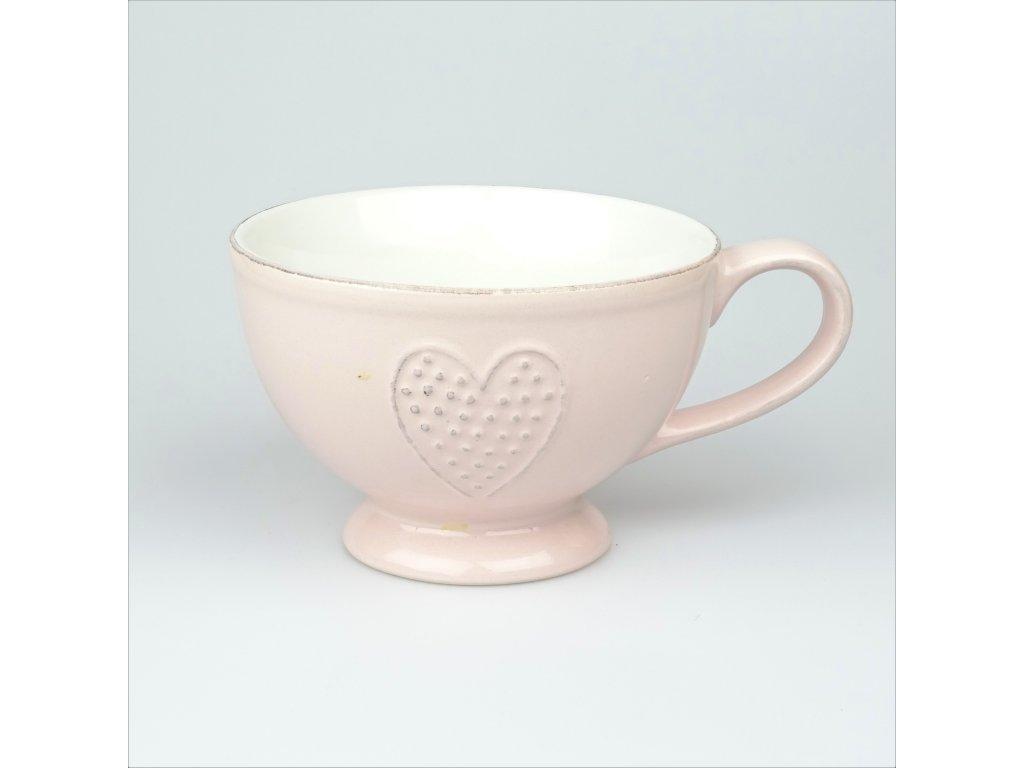 Keramický hrnek srdce růžový - 450 ml