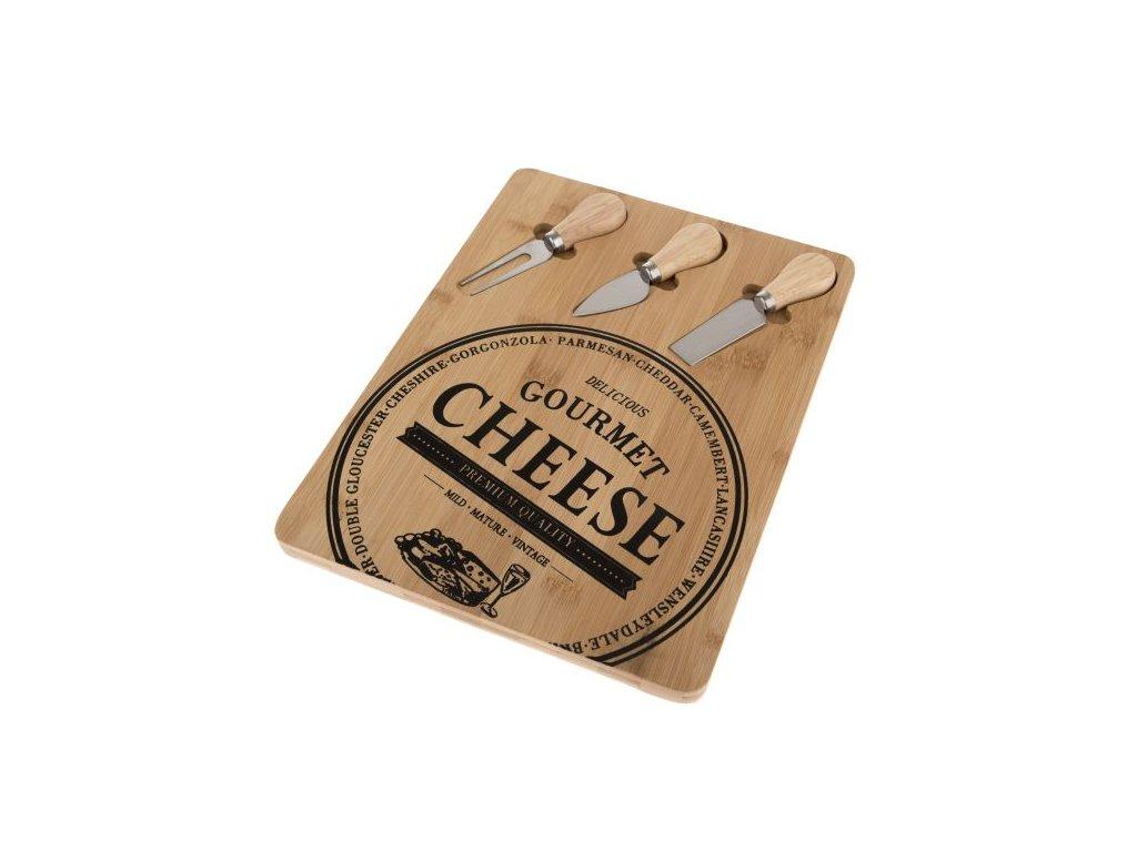 servírovací prkénko s náčiním Cheese 33x25x1,5
