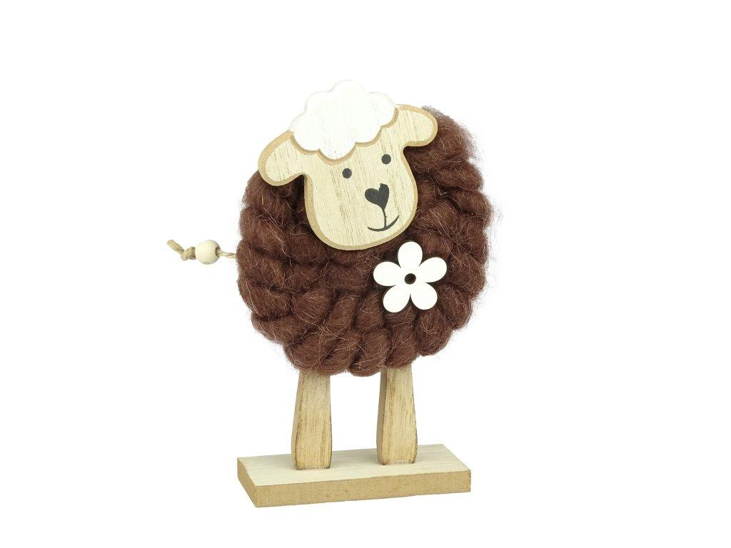 Dřevěná ovečka s hnědou vlnou - 17 cm