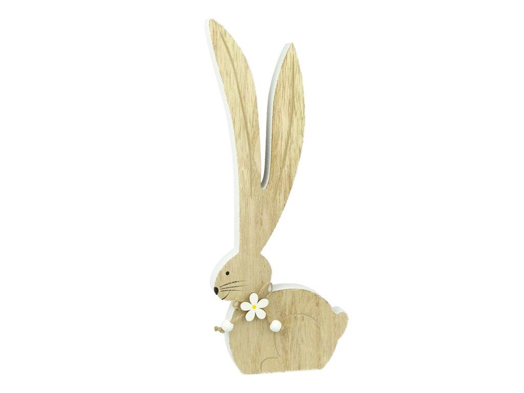 Dřevěný zajíc s kytičkou - 30 cm