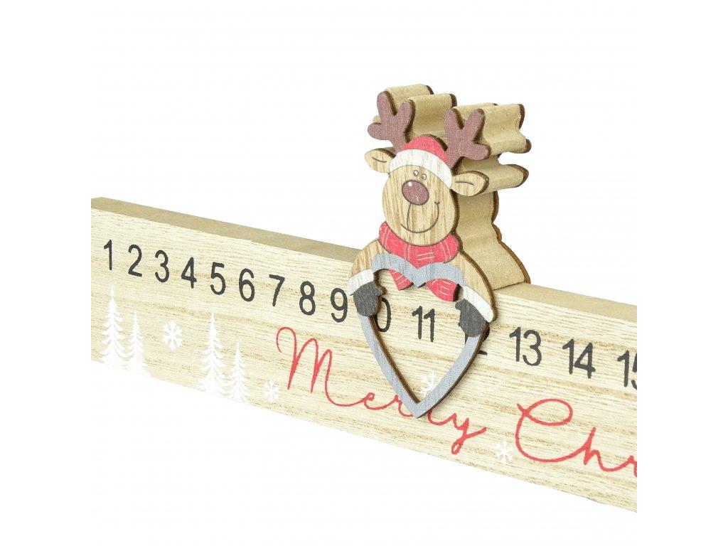 Dřevěný vánoční kalendář se sobem