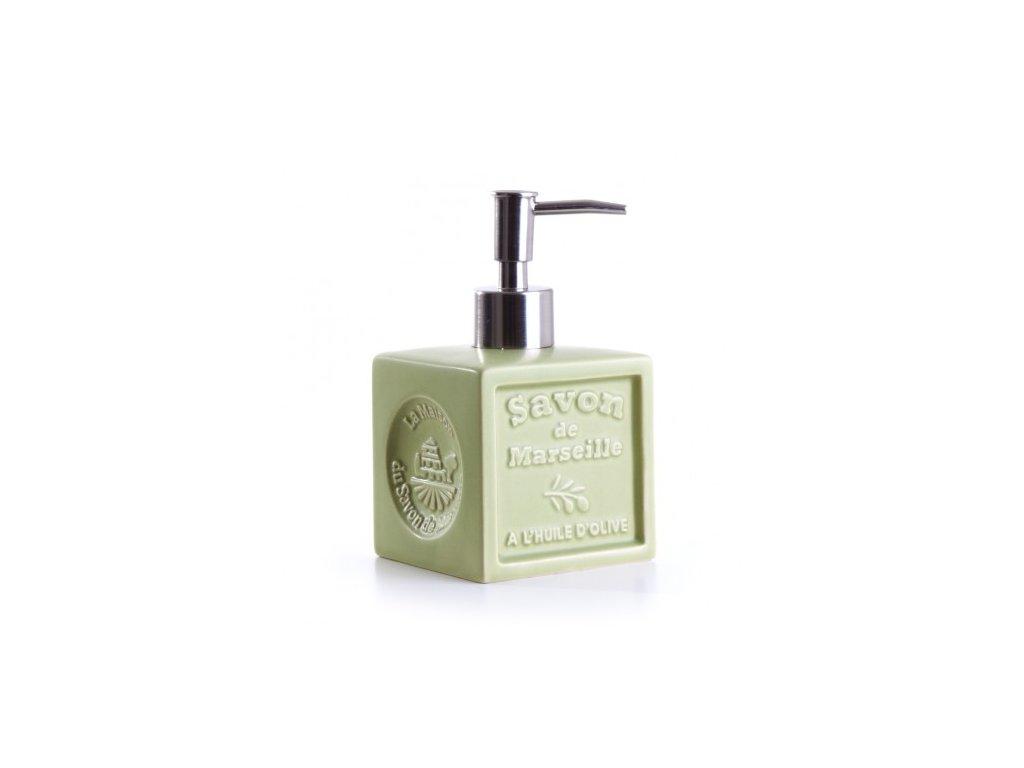 davkovac olive zelena distributeur de savon cube ceramique vert olive