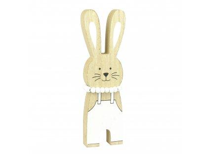 Malý bílý dřevěný zajíček - 10 cm