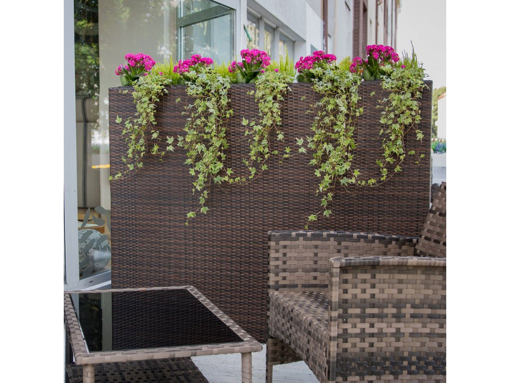 Zahradní květináč z technorattanu Wenge 150 x 120 x 30 cm PATIO