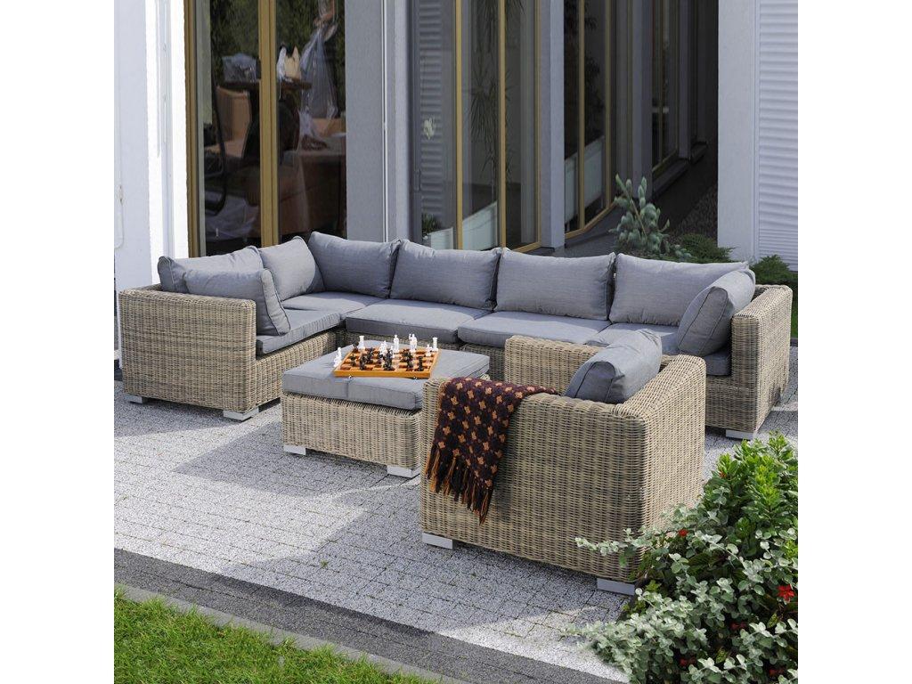 Souprava zahradního nábytku z technorattanu Dorothee Cappuccino PATIO