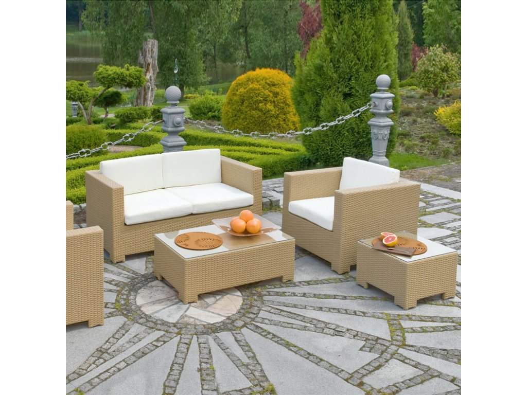 Souprava zahradního nábytku z technorattanu Madeleine Beige PATIO