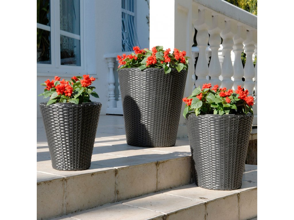Sada 3 zahradních květináčů z technorattanu Oscar Black 41 x 40 cm PATIO
