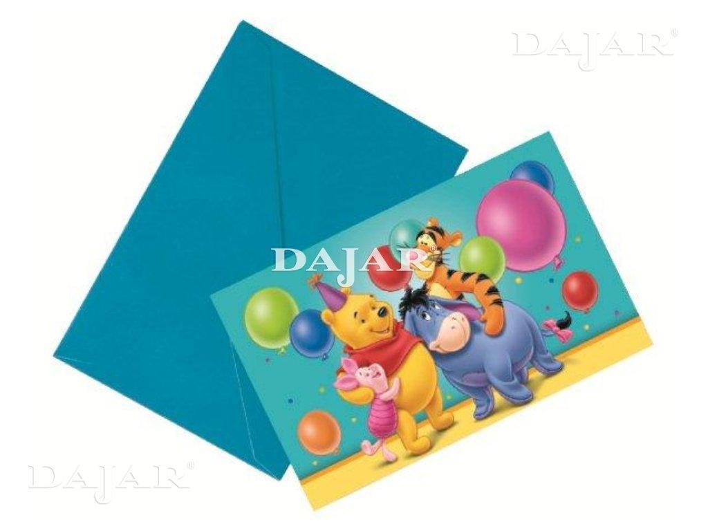 Sada 6 pozvánek s obálkou Překvapení Medvídka Pú DISNEY