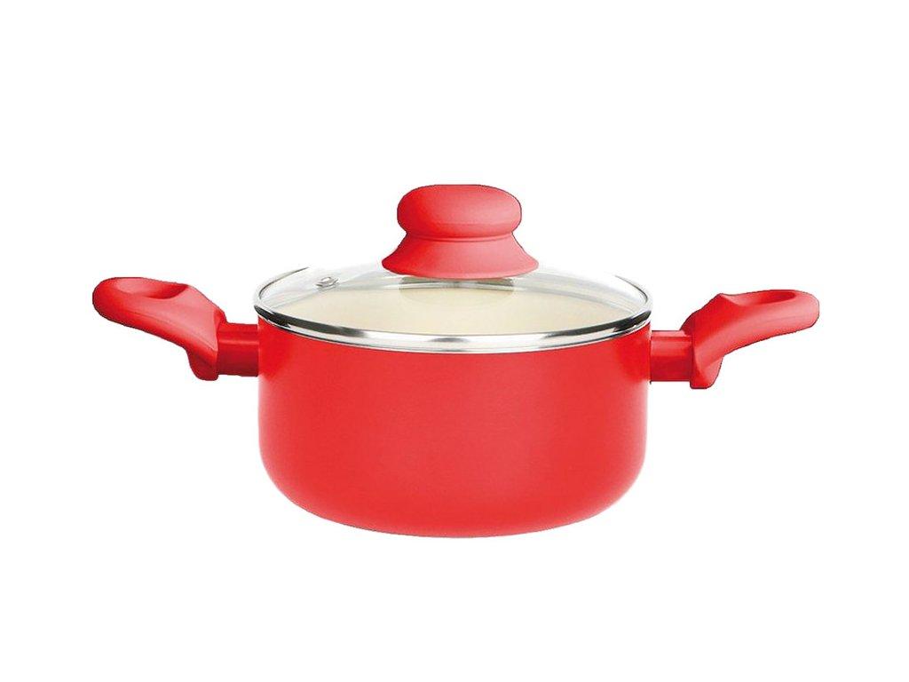 Hrnec s keramickým povlakem s poklicí Fusion Fresh Red 16 cm 1,25 l AMBITION