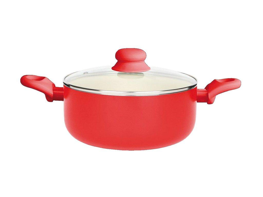 Hrnec s keramickým povlakem s poklicí Fusion Fresh Red 28 cm 6,25 l AMBITION