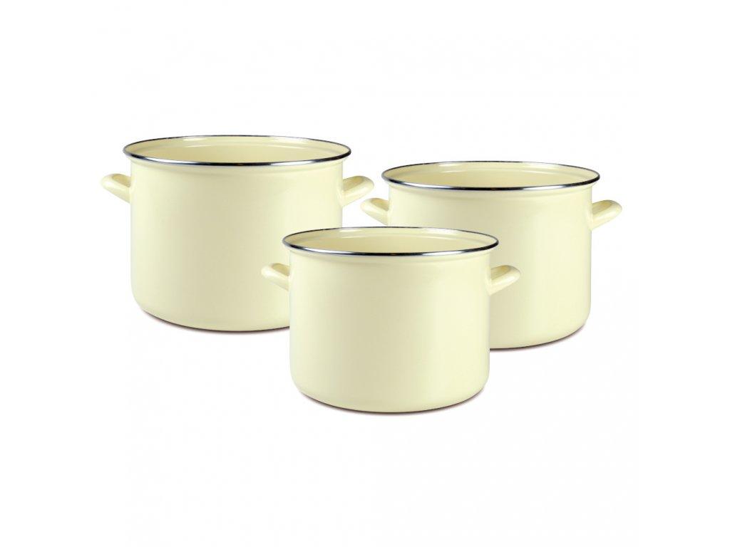 Sada smaltovaných hrnců Vigo Cream 3-díly DOMOTTI