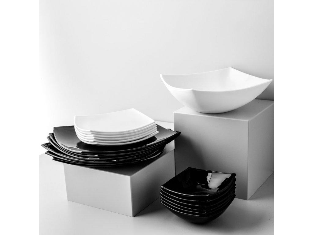 Jídelní servis Quadrato Black & White 19-dílů LUMINARC