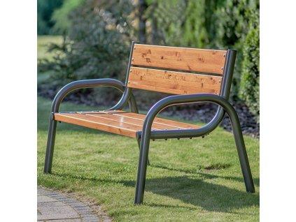 Zahradní dřevěná lavička s opěradlem Park Lux 170 x 74 x 86 cm PATIO