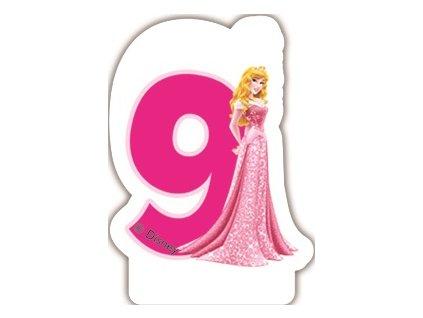 Narozeninová svíčka Princess & Animals 9 years DISNEY