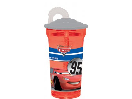 Láhev s brčkem Cars Red-Grey 350 ml DISNEY