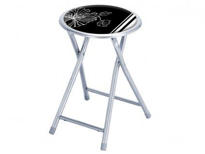 Skládací taburet Flower Black & White PATIO