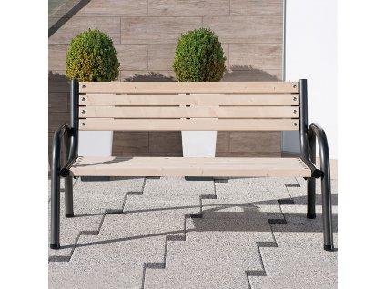Dřevěná zahradní lavička Park 150 x 74 x 86 cm PATIO