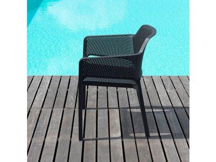 Plastová zahradní židle Net Antracite NARDI