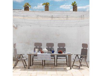 Rozkládací zahradní stůl Libeccio Tortora 100 x 160/220 x 74 cm NARDI