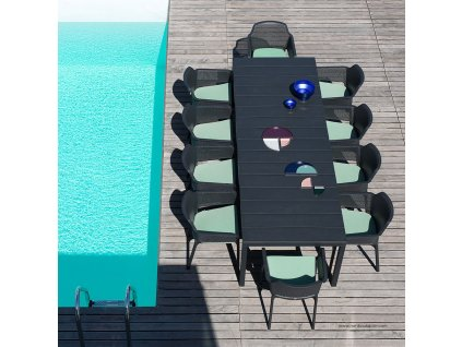 Rozkládací zahradní stůl Rio Antracite 100 x 210/280 x 76 cm NARDI